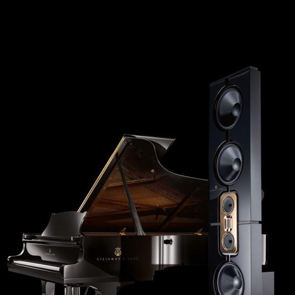 Steinway Lyngdorf Model D Loudspeakers in Black with Piano